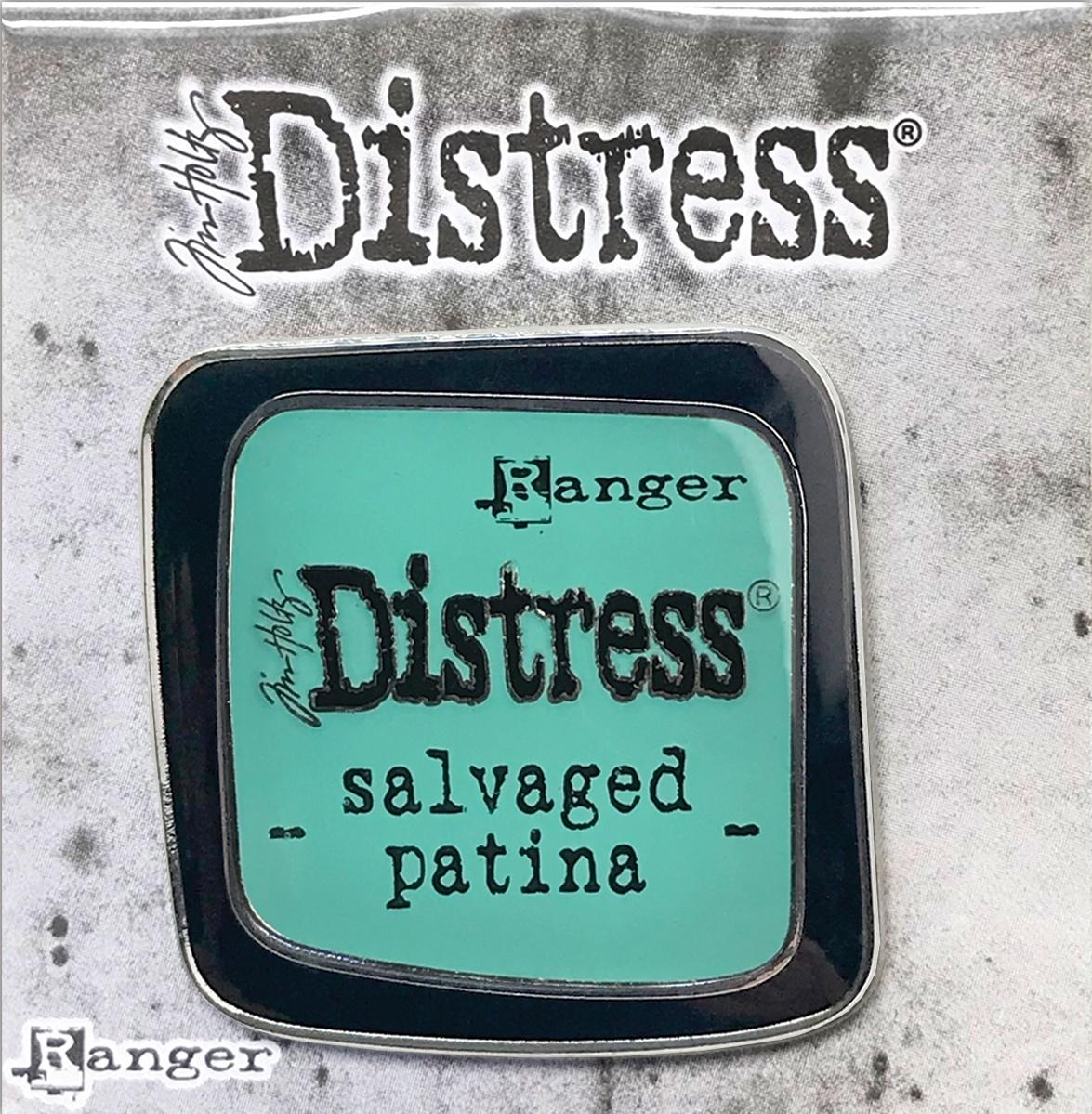 Tim Holtz Distress Enamel Collector Pin-Salvaged Patina