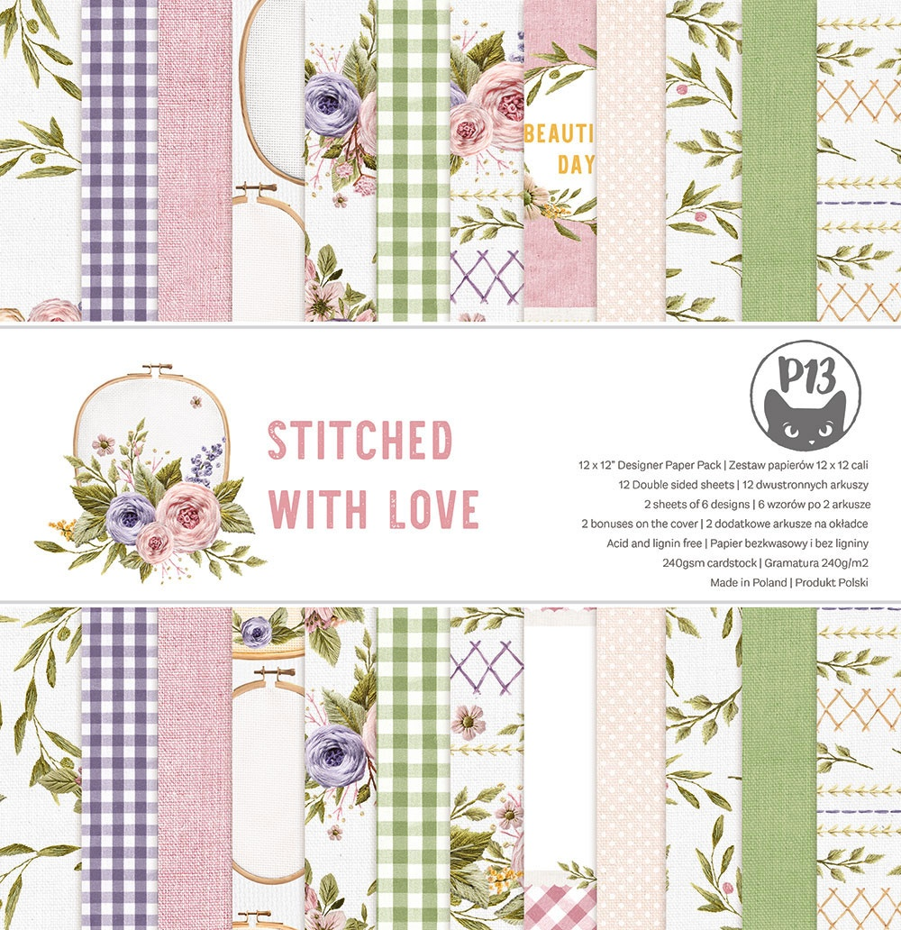 P13 Double-Sided Paper Pad 12X12 12/Pkg-Stitched With Love