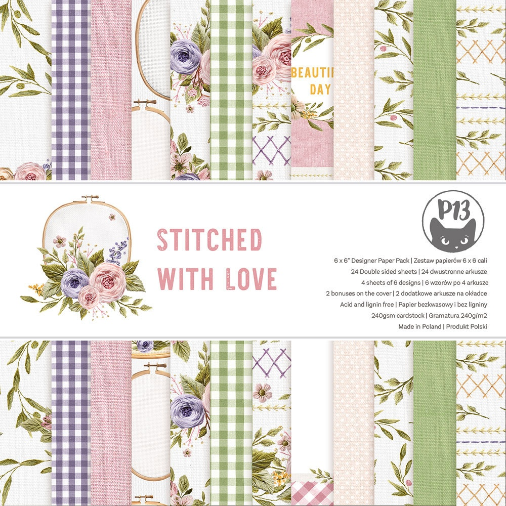 P13 Double-Sided Paper Pad 6X6 24/Pkg-Stitched With Love