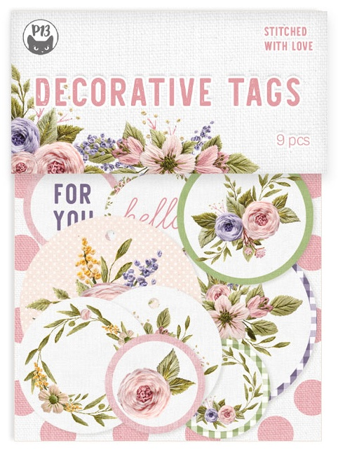 Stitched With Love Double-Sided Cardstock Tags 9/Pkg-#01