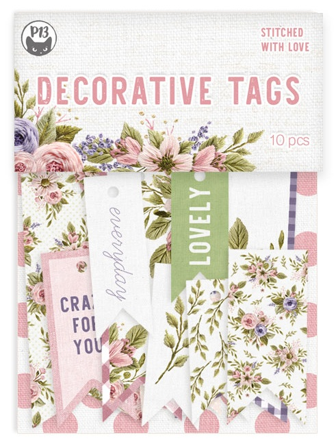 Stitched With Love Double-Sided Cardstock Tags 10/Pkg-#02