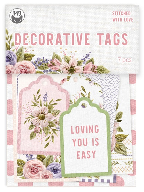 Stitched With Love Double-Sided Cardstock Tags 7/Pkg-#03