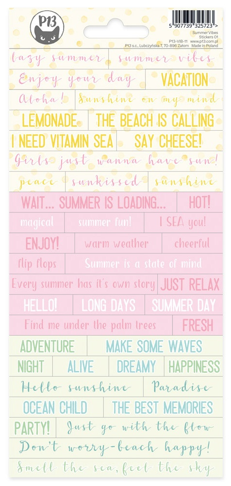 Summer Vibes Cardstock Stickers 4X9-#01