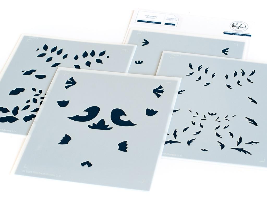 Pinkfresh Studio Stencils 4.25X5.25 4/Pkg-Folk Art Birds Layering
