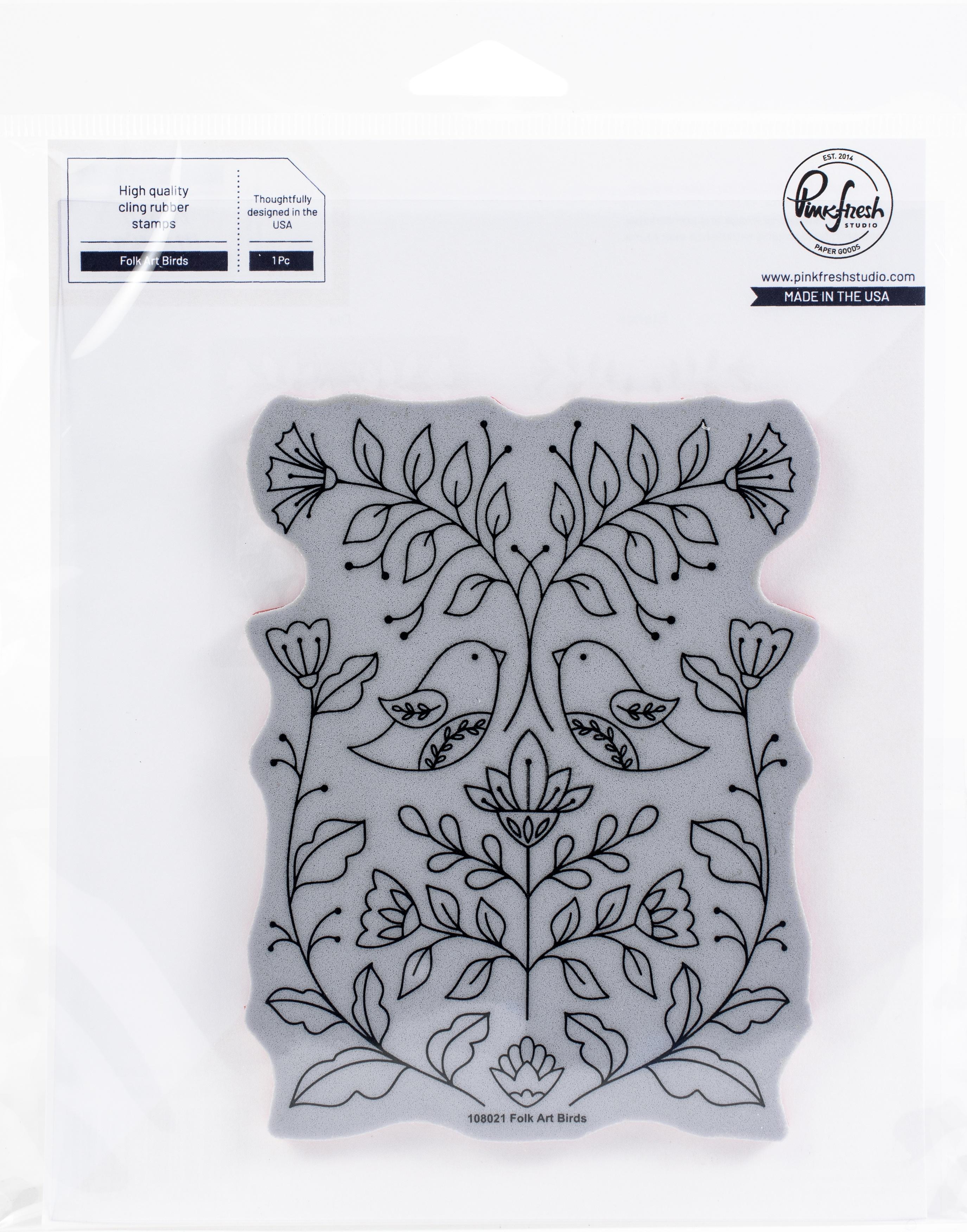 Pinkfresh Studio Cling Rubber Background Stamp A2-Folk Art Birds