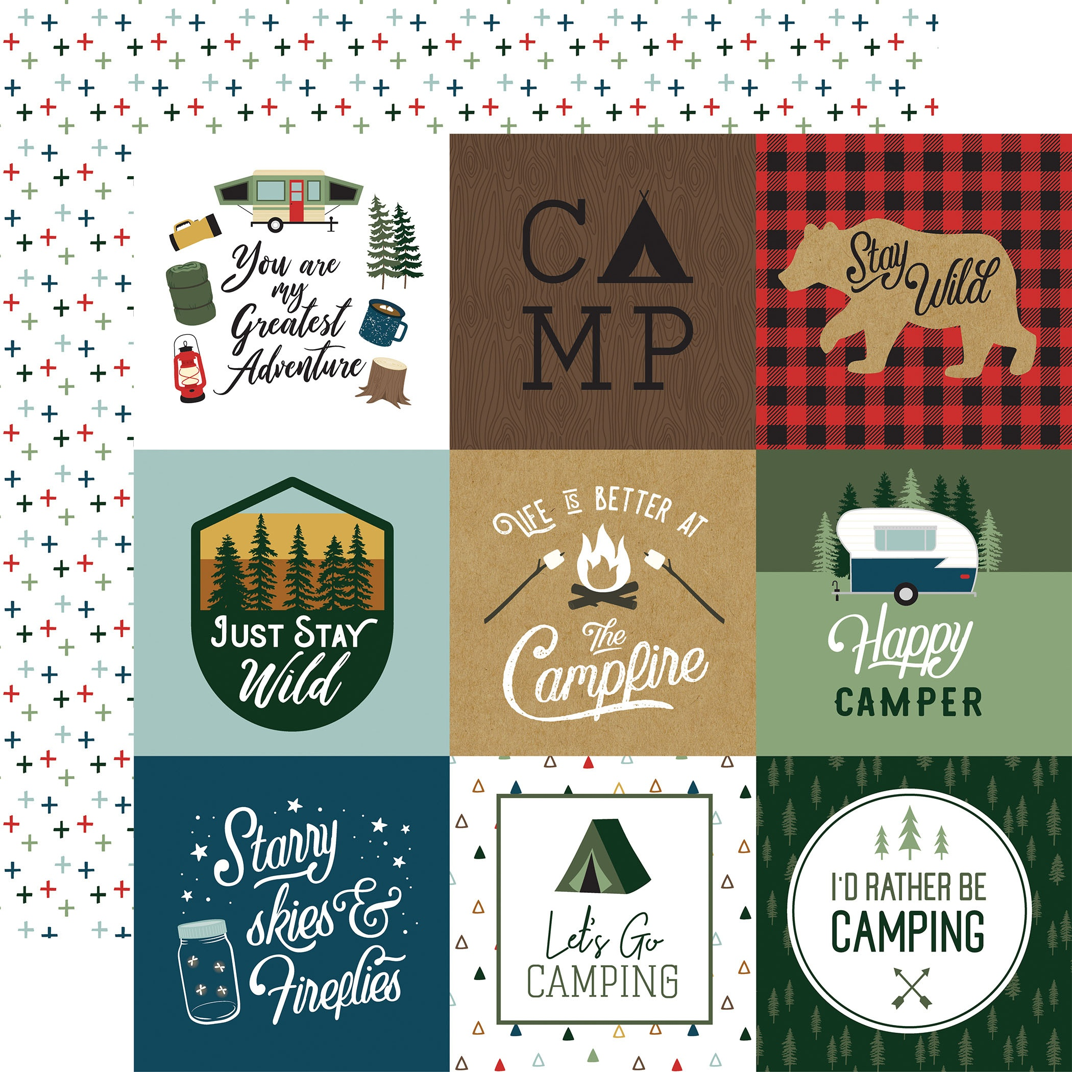Echo Park - Let's Go Camping - 4X4 JOURNALING CARDS - 12x12 Double-Sided Paper
