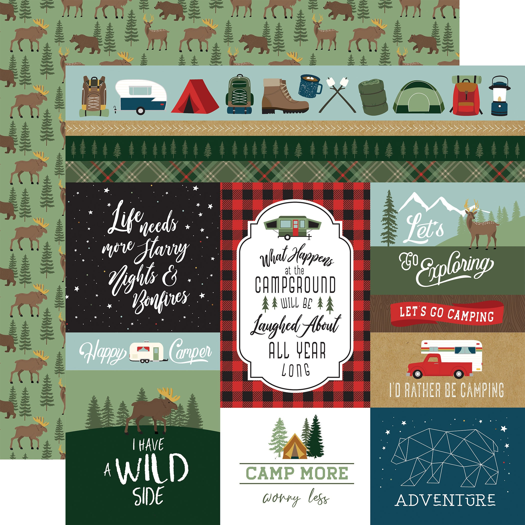 Echo Park - Let's Go Camping - MULTI JOURNALING CARDS - 12x12 Double-Sided Paper
