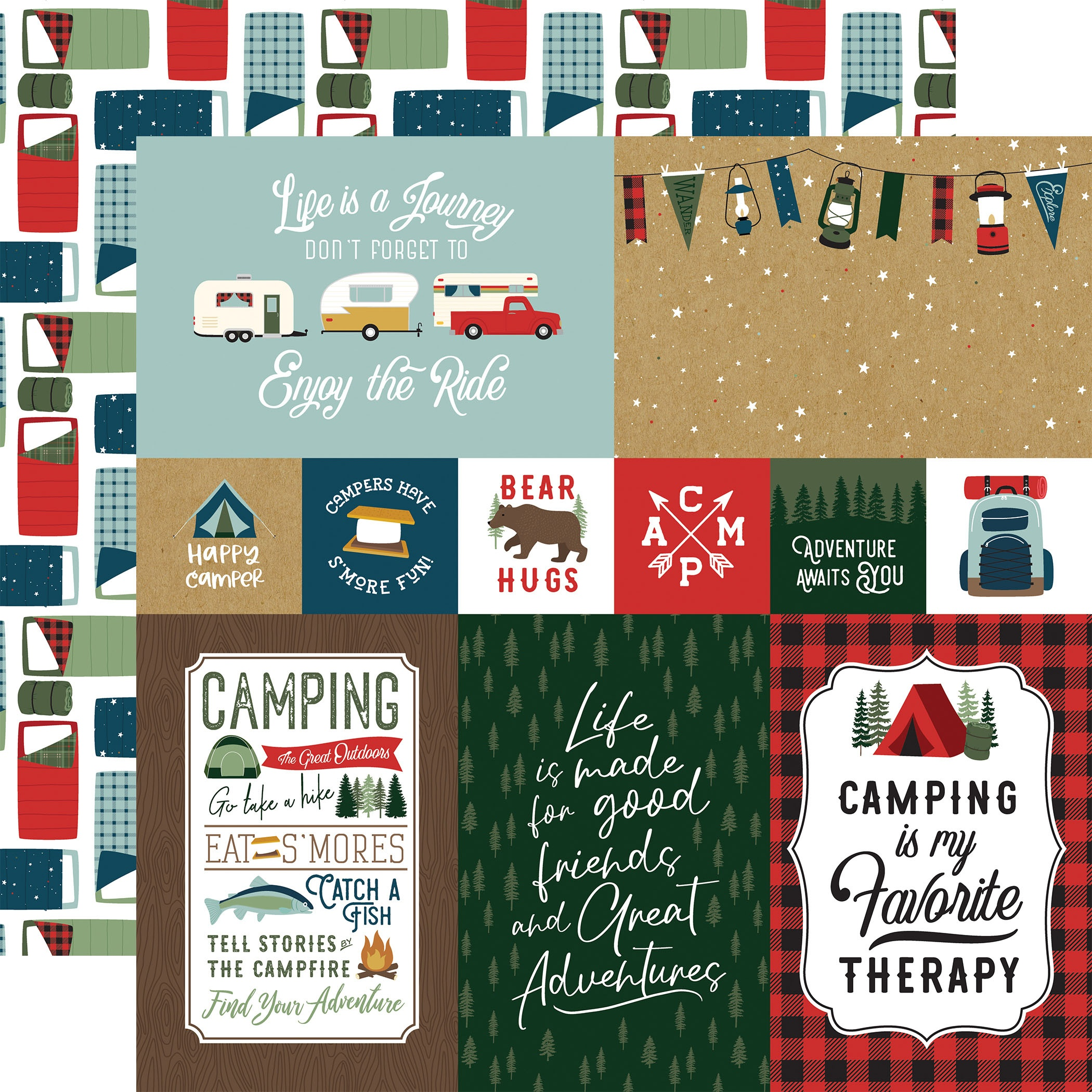 Echo Park - Let's Go Camping - 4X6 JOURNALING CARDS - 12x12 Double-Sided Paper