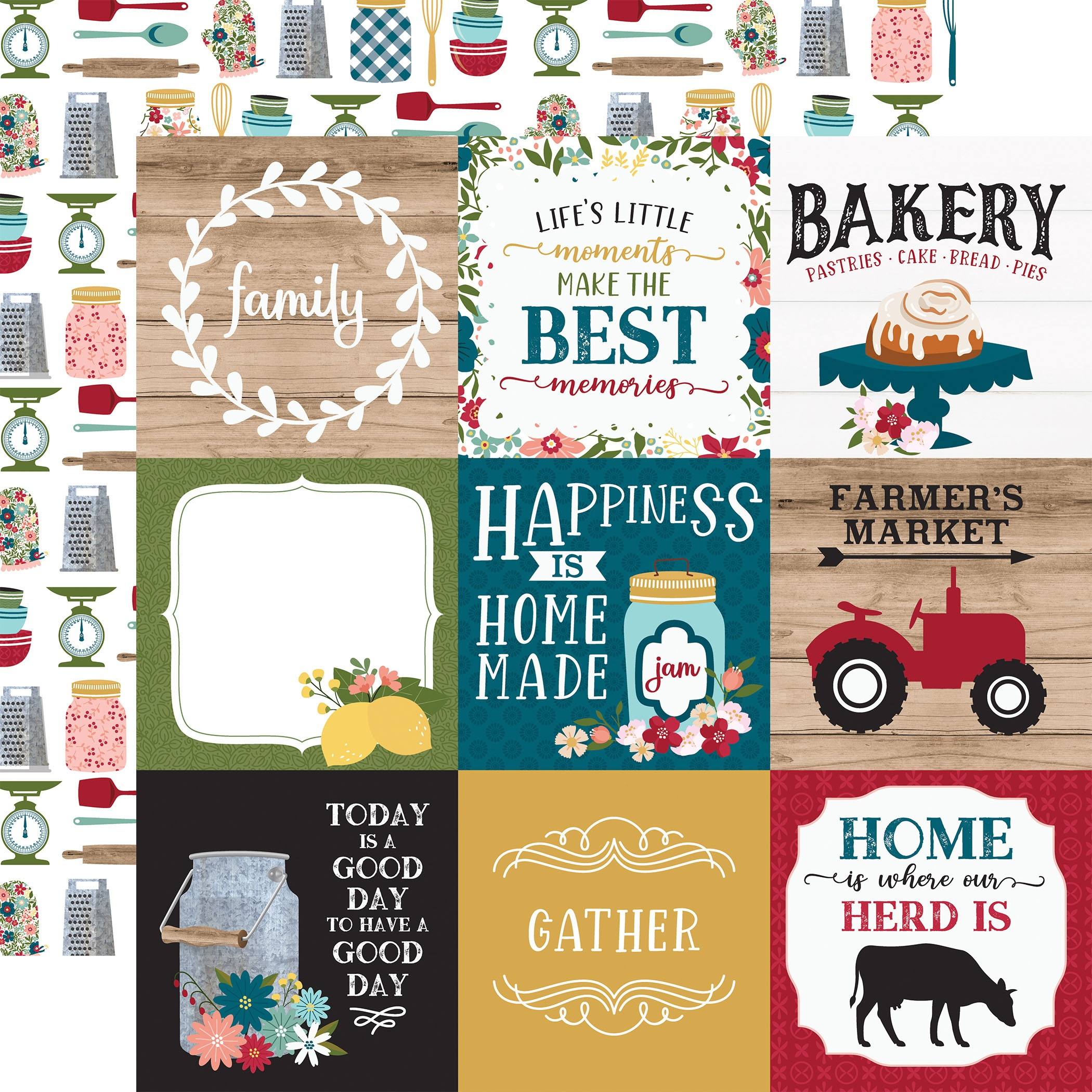Farmer's Market Double-Sided Cardstock 12X12-4X4 Journaling Cards