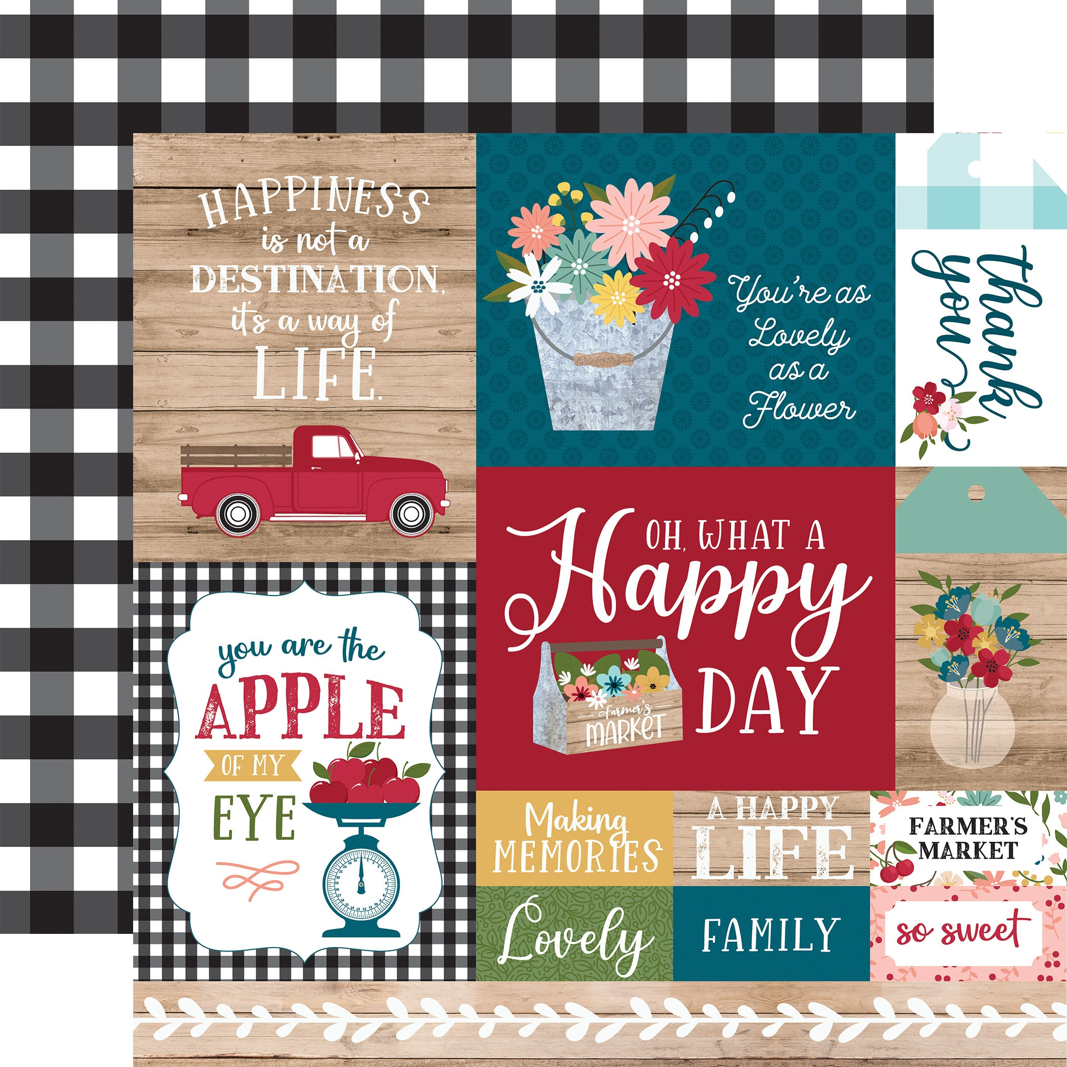 Farmer's Market Double-Sided Cardstock 12X12-Multi Journaling Cards