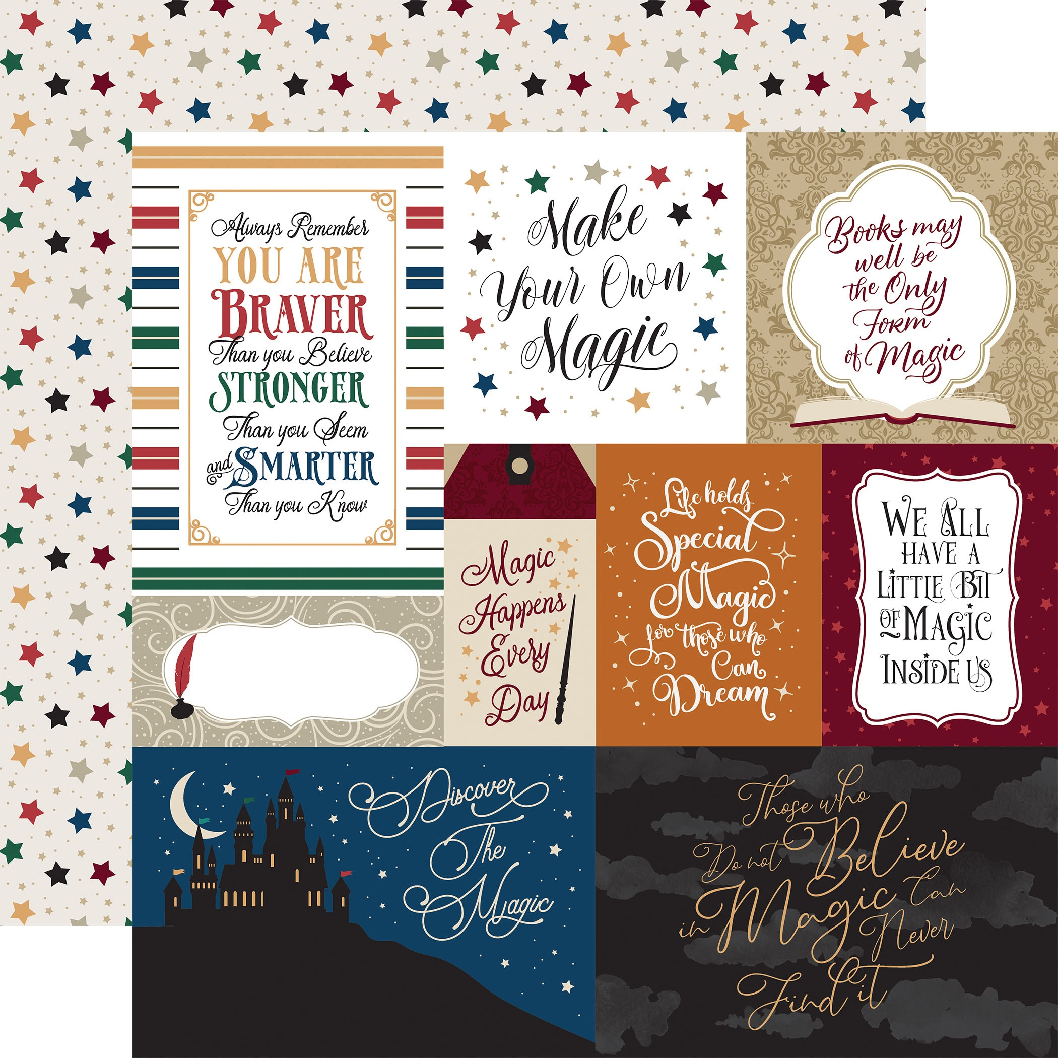 Witches & Wizards No.2 Double-Sided Cardstock 12X12-Multi Journaling Cards