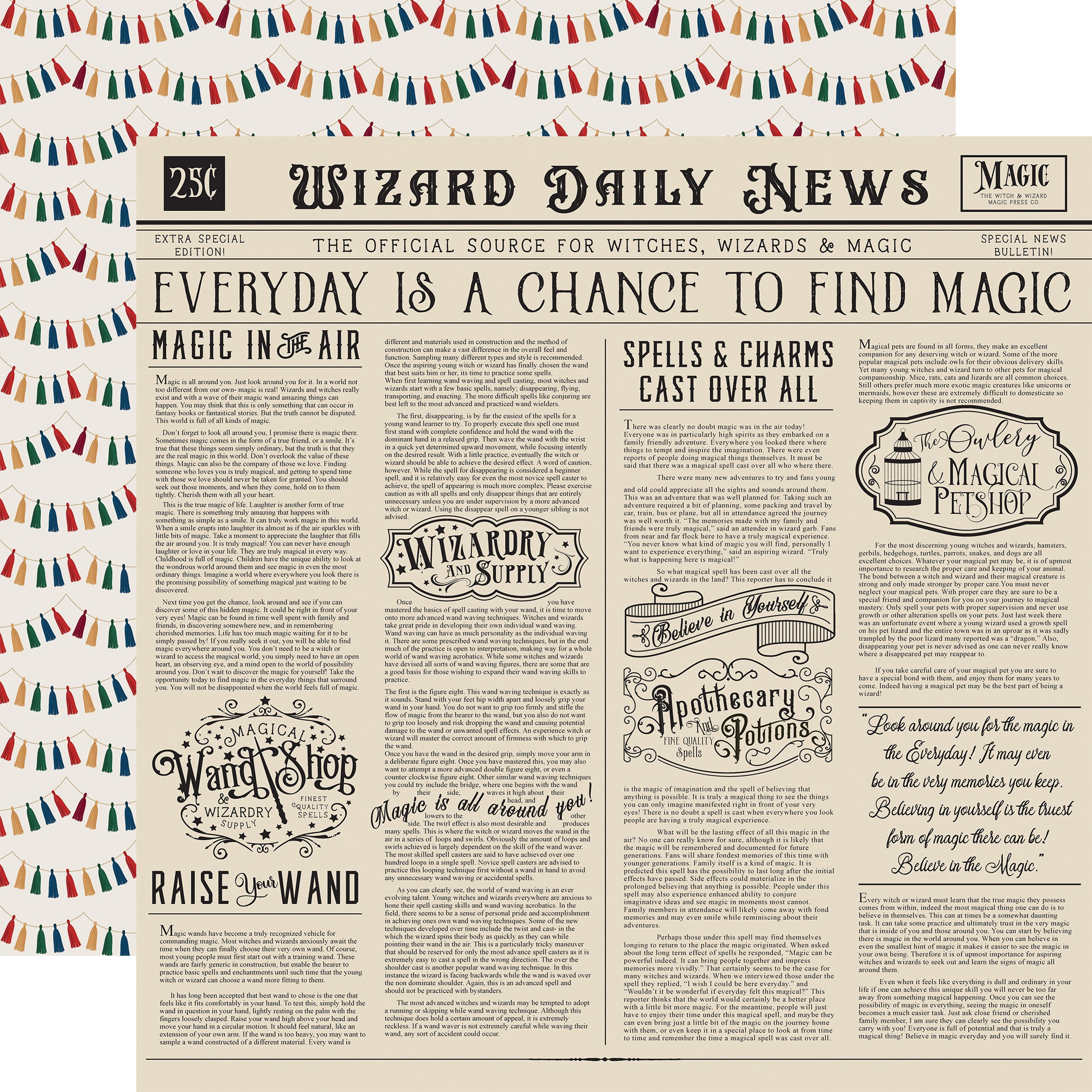 Witches & Wizards No.2 Double-Sided Cardstock 12X12-Wizards Daily News
