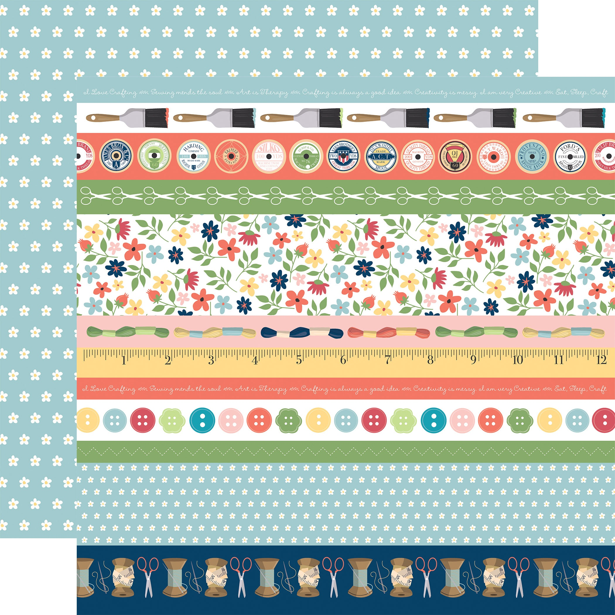 Carta Bella - Craft & Create - BORDER STRIPS - 12x12 Double-Sided Textured Paper