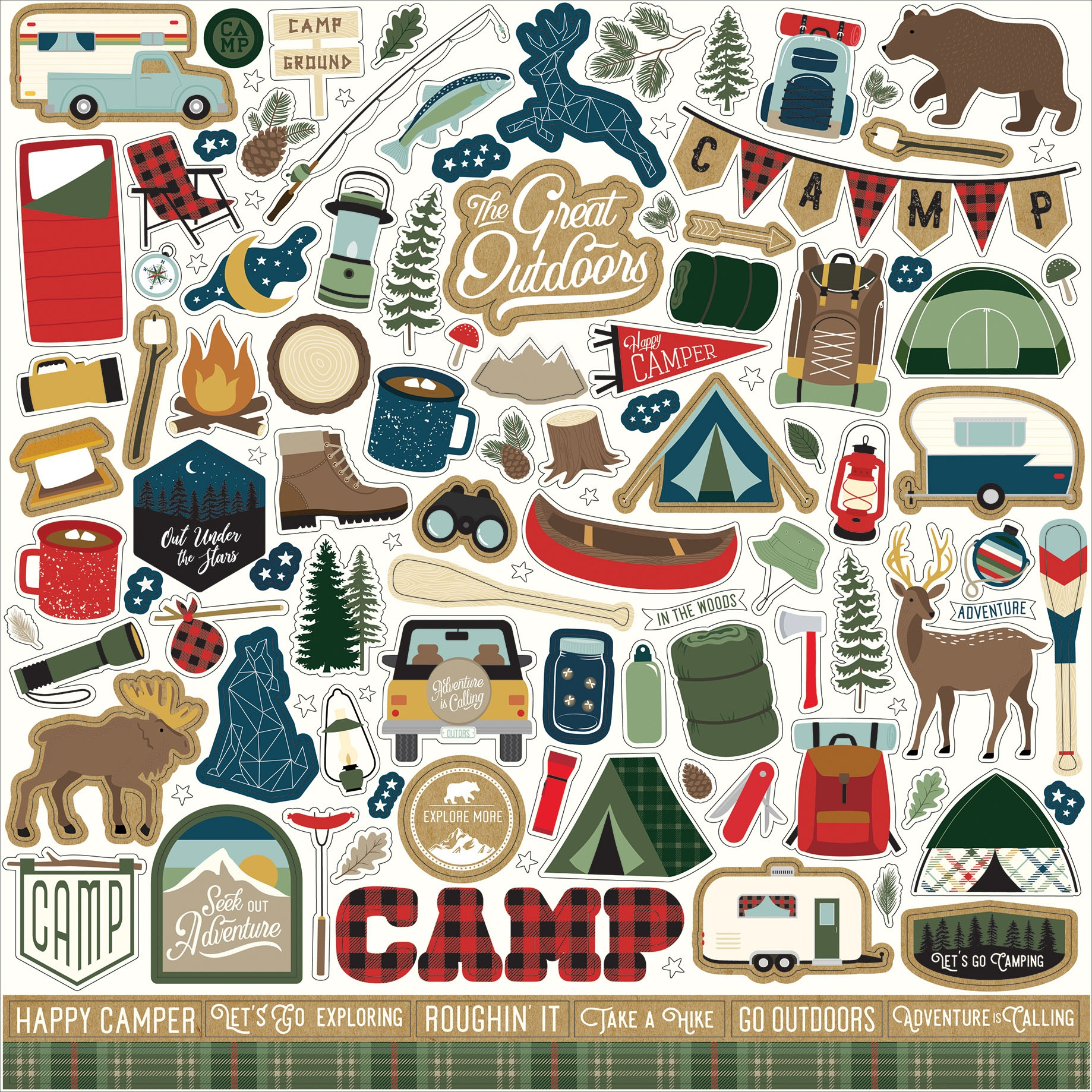 Let's Go Camping Cardstock Stickers 12X12-Elements