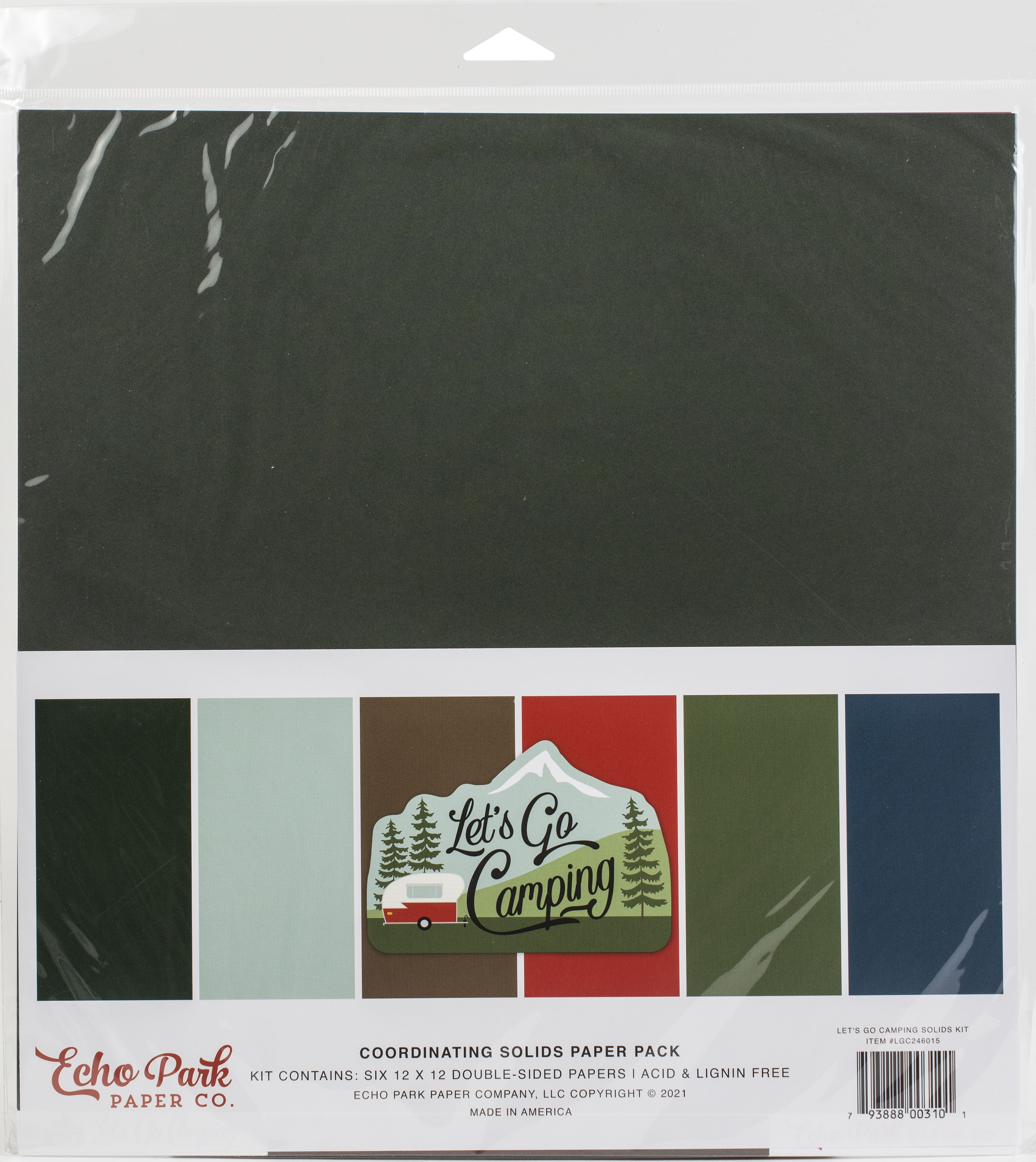 Echo Park Double-Sided Solid Cardstock 12X12 6/Pkg-Let's Go Camping, 6 Colors