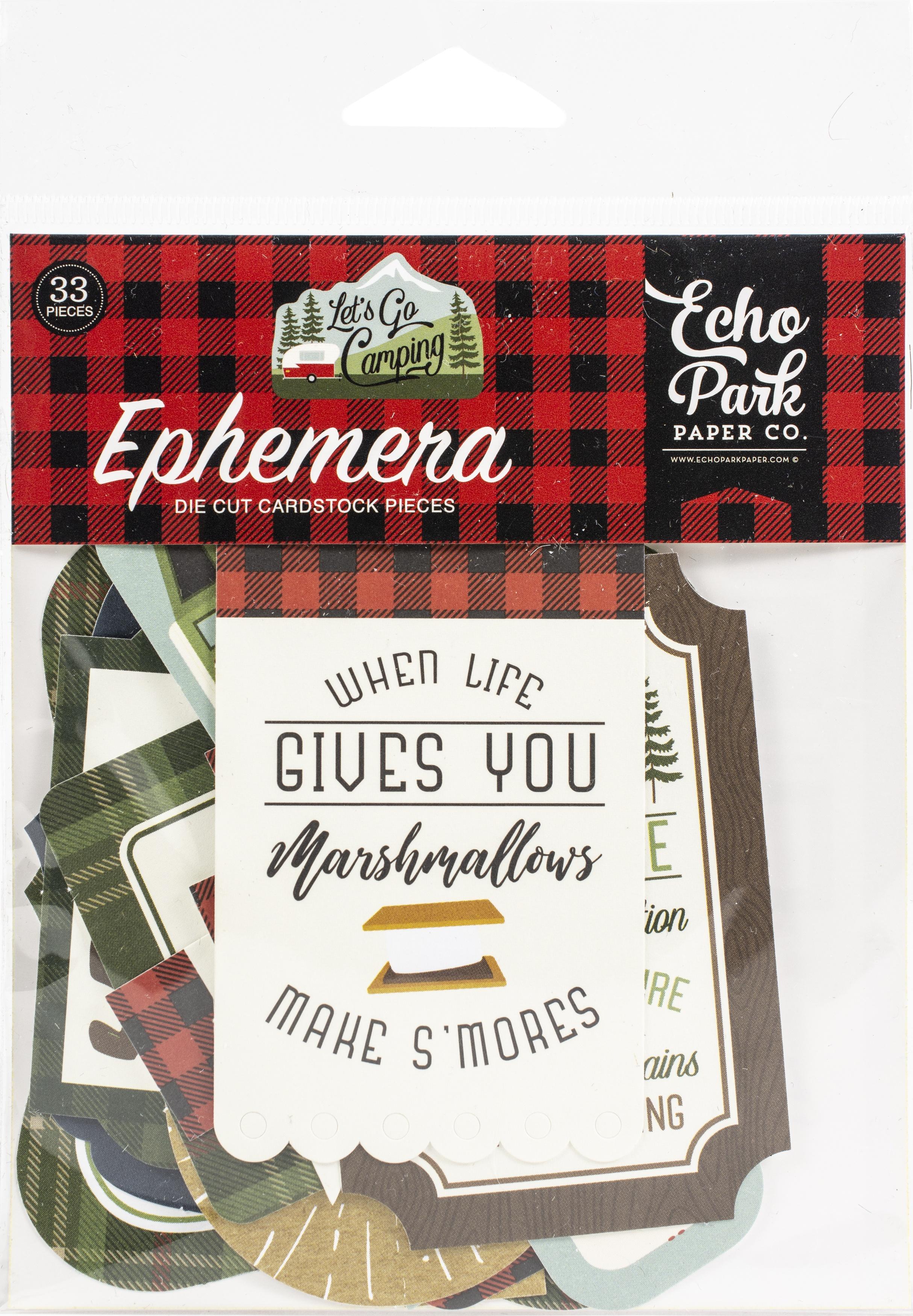 Echo Park Cardstock Ephemera 33/Pkg-Icons, Let's Go Camping