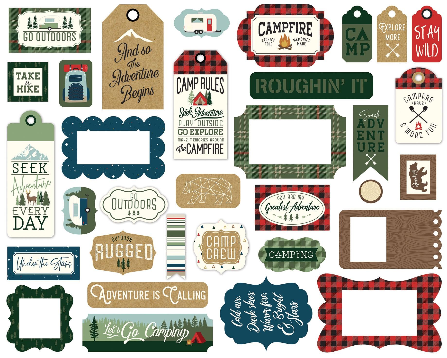 Echo Park Cardstock Ephemera 33/Pkg-Frames & Tags, Let's Go Camping