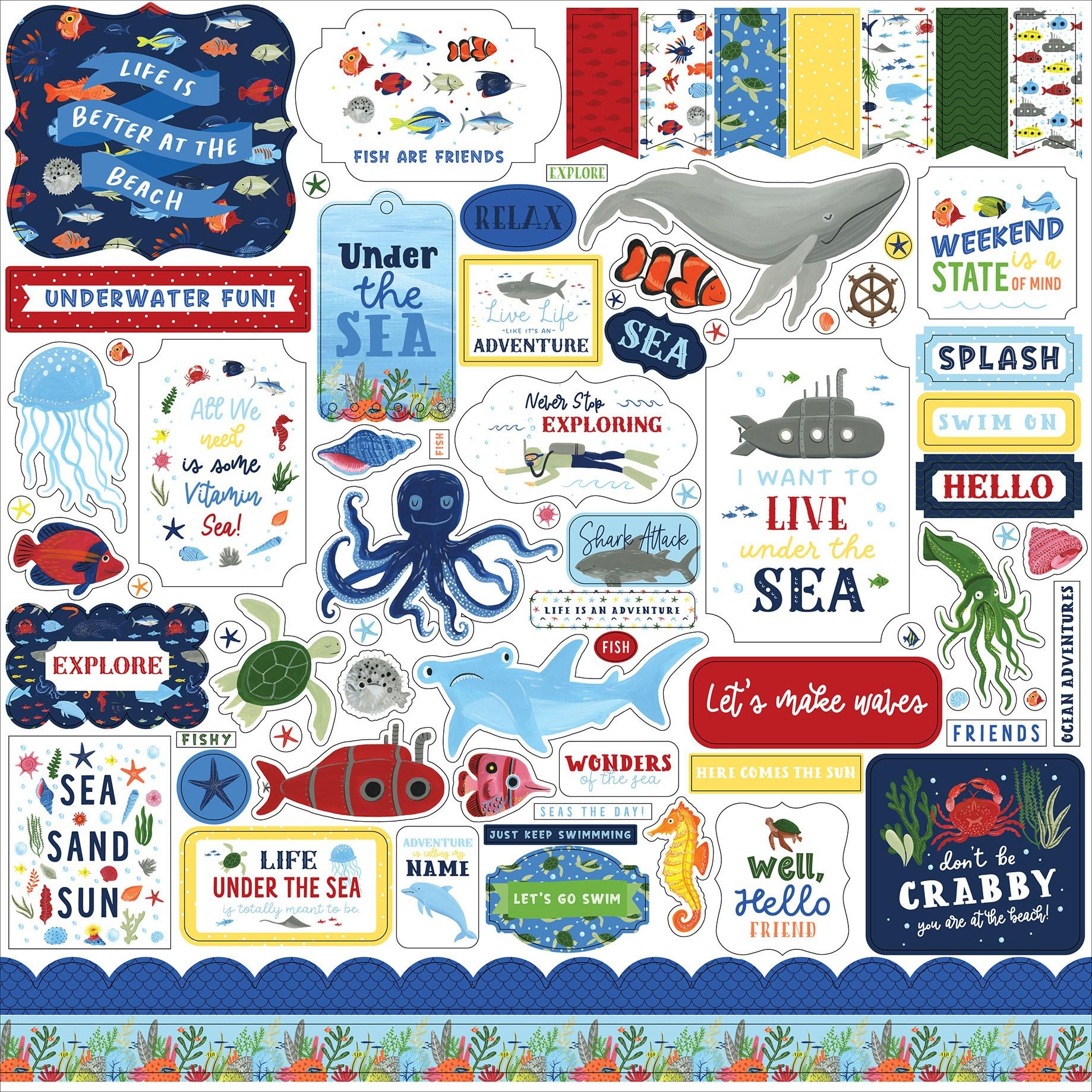 Under Sea Adventures Cardstock Stickers 12X12-Elements