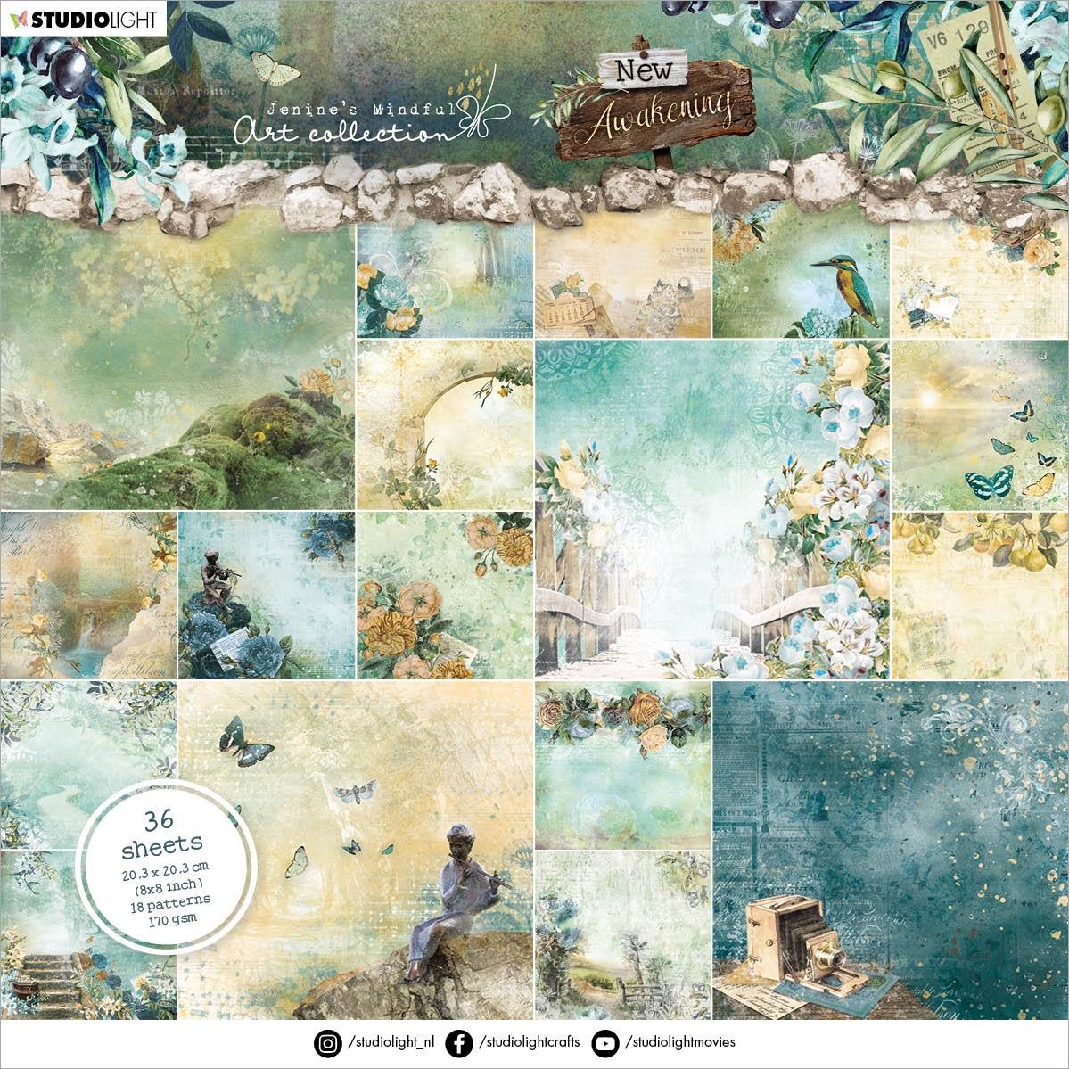 Studio Light Jenine's Mindful Art Paper Pad 8X8 36/Pkg-NR. 01, New Awakening Patterns