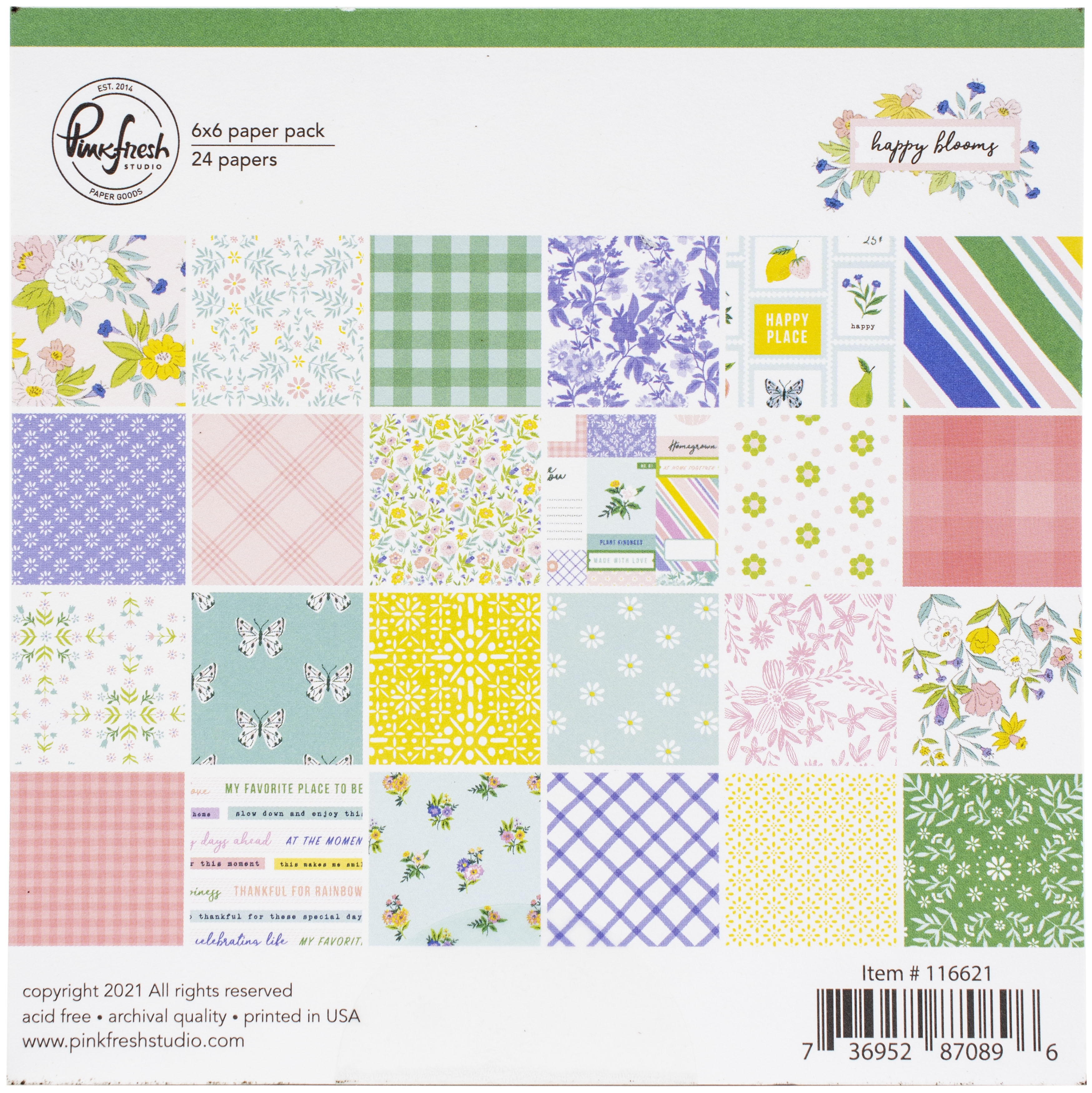 PinkFresh Studio Double-Sided Paper Pack 6X6 24/Pkg-Happy Blooms, 12 Designs/2...