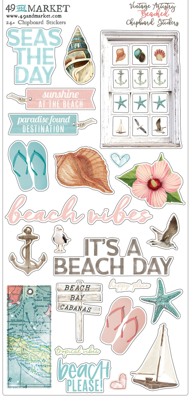 Vintage Artistry Beached Chipboard Stickers 6X12-