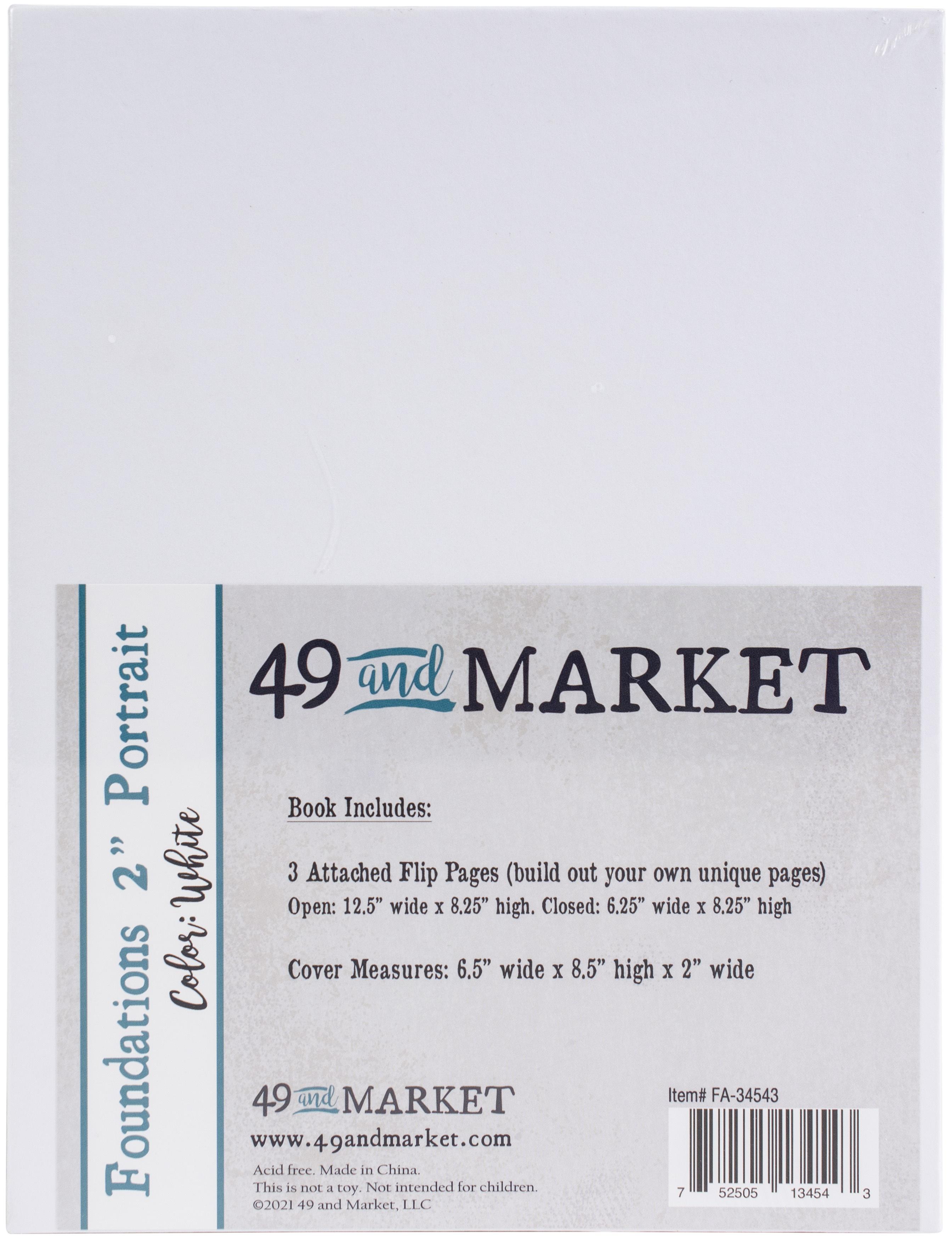 49 And Market Foundations 2 Portrait Album 8.5X6.5-White