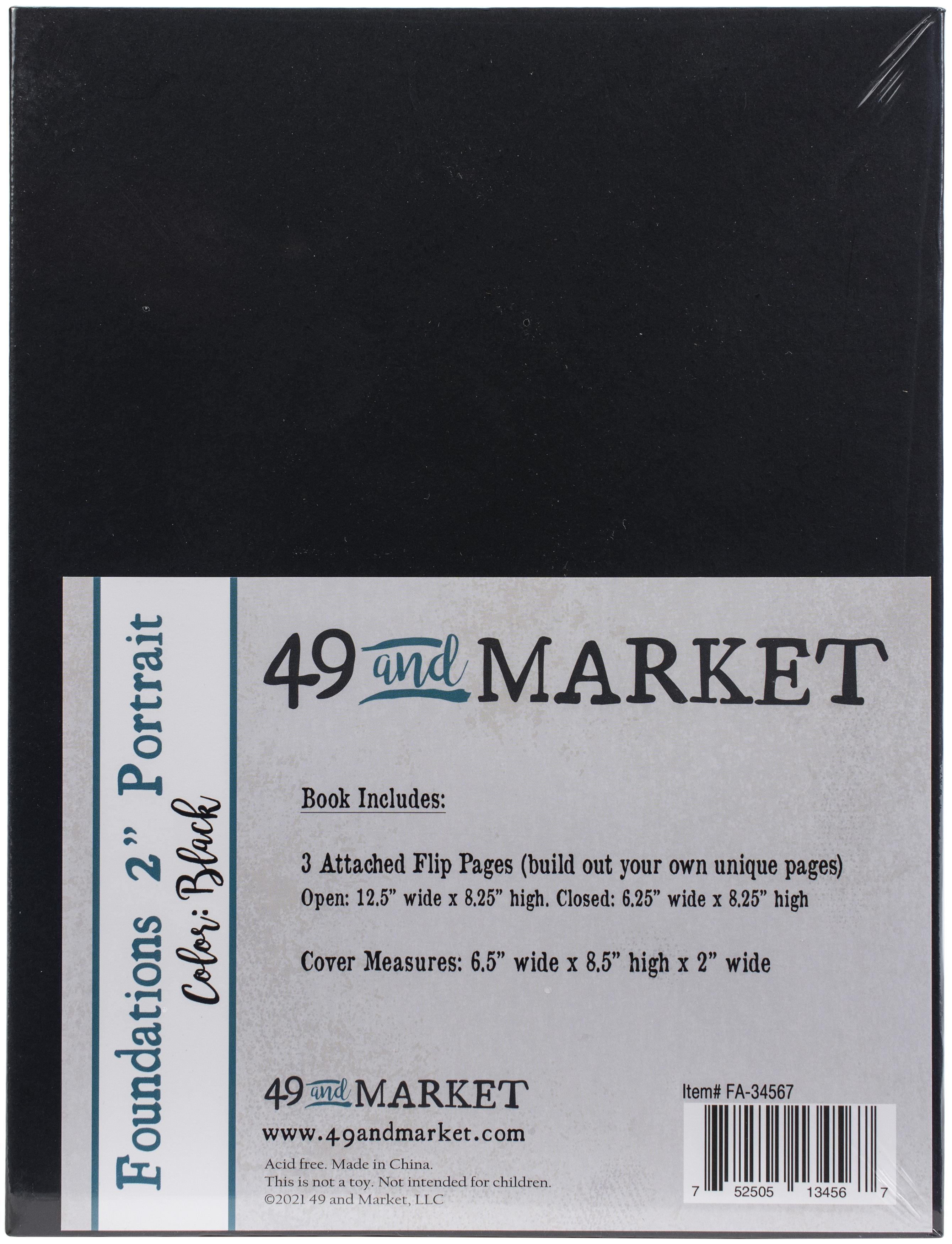 49 And Market Foundations 2 Portrait Album 8.5X6.5-Black