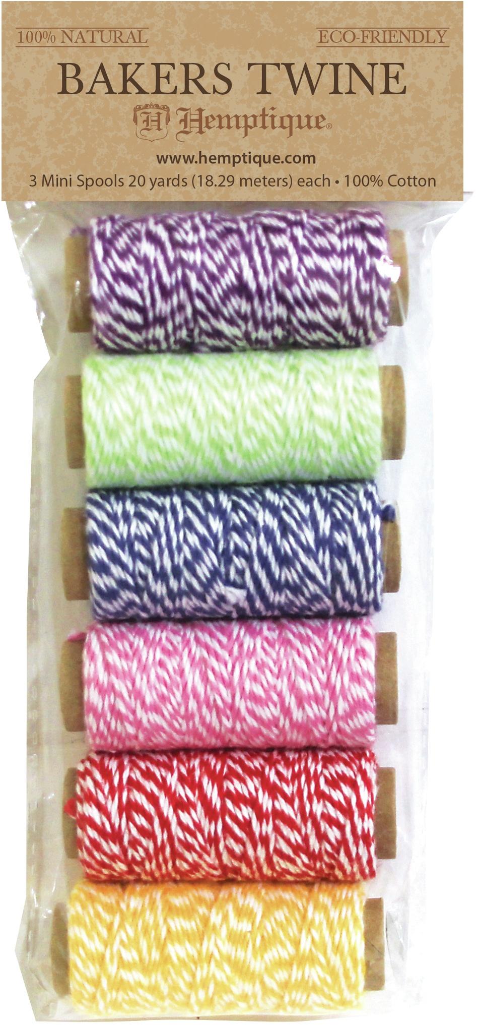 Hemptique Cotton Baker's Twine Mini Spools 2-Ply 6/Pkg-Rainbow