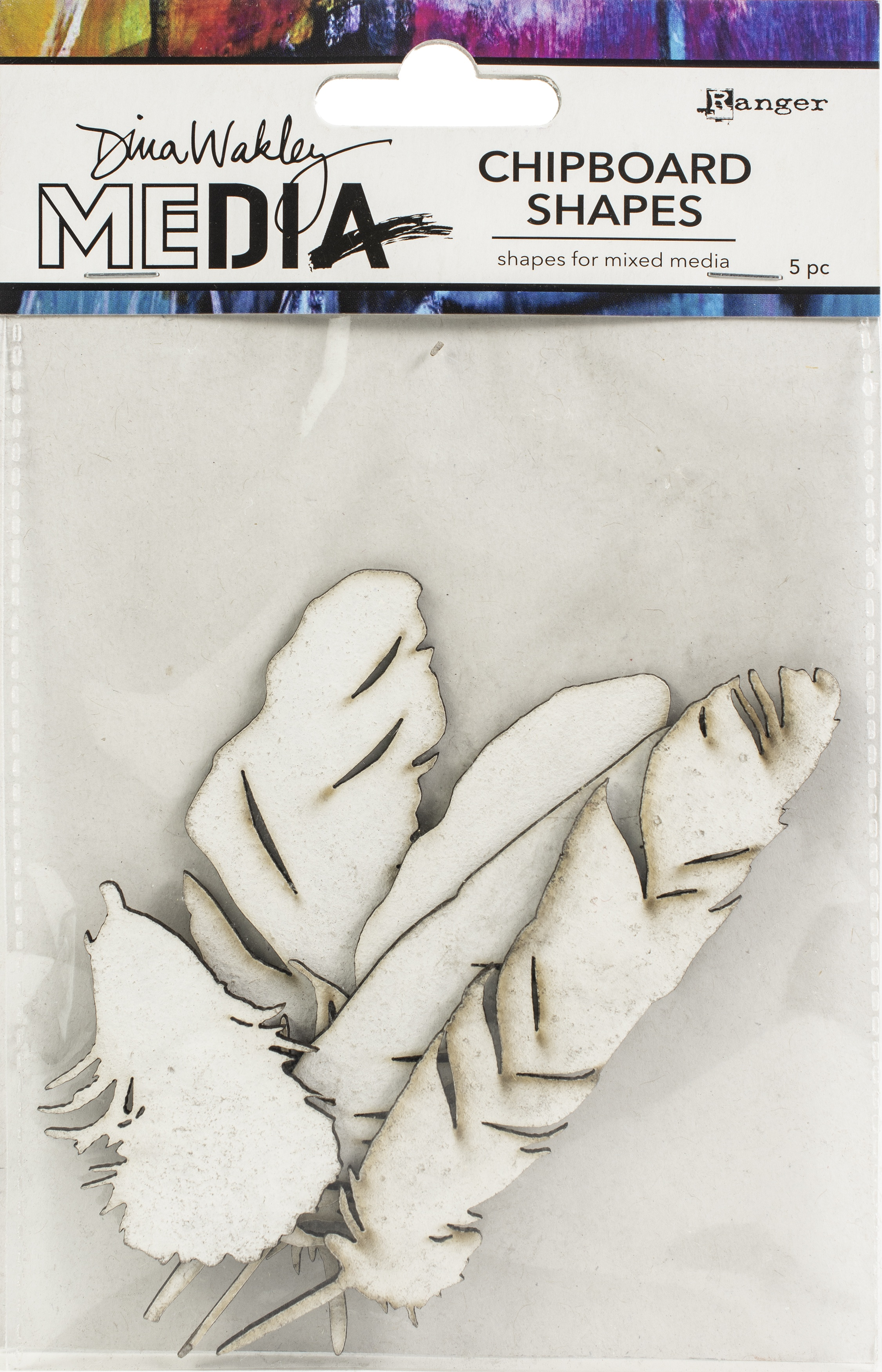 Dina Wakley Media Chipboard Shapes-Feathers