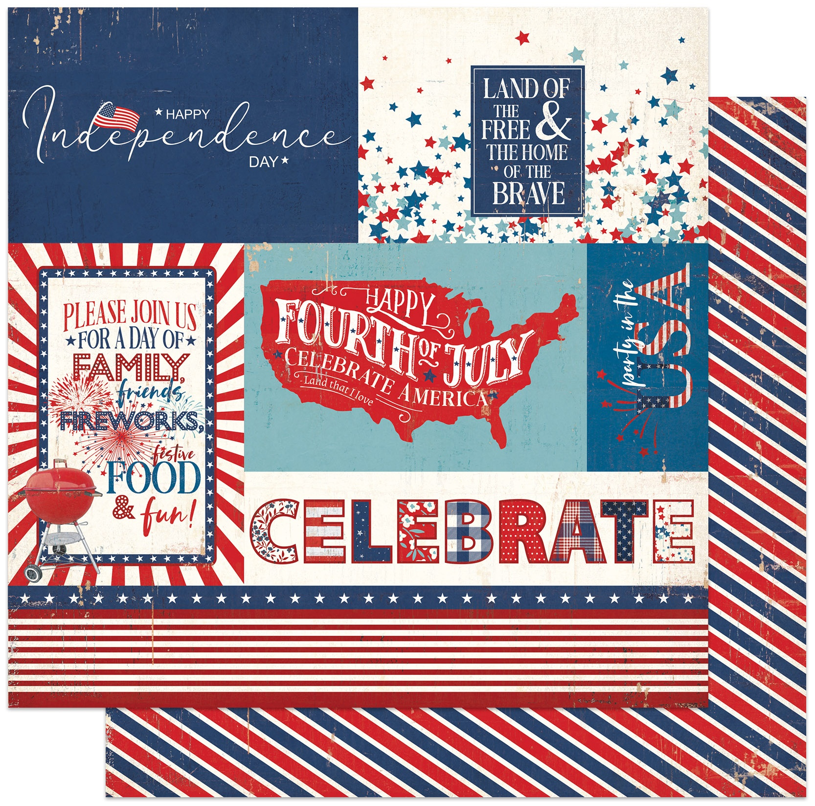 America The Beautiful Double-Sided Cardstock 12X12-Barbecue
