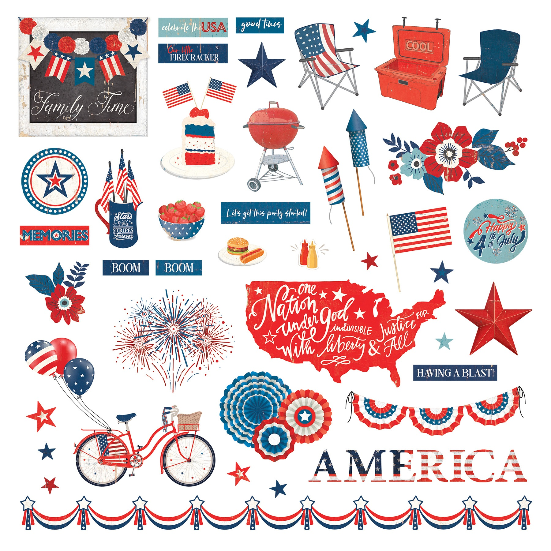 America The Beautiful Stickers 12X12-Elements