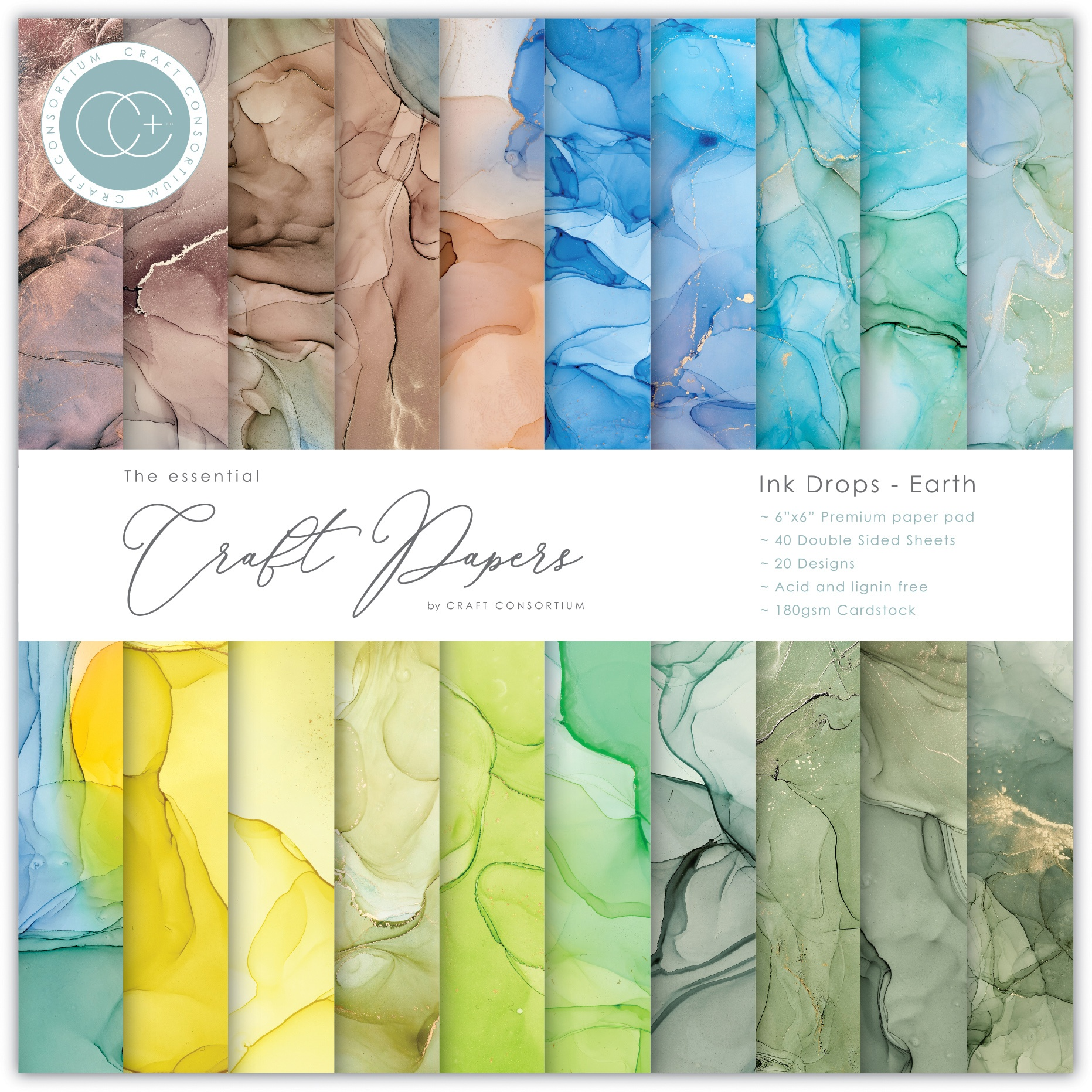 Craft Consortium Double-Sided Paper Pad 6X6 40/Pkg-Ink Drops - Earth, 20 Designs