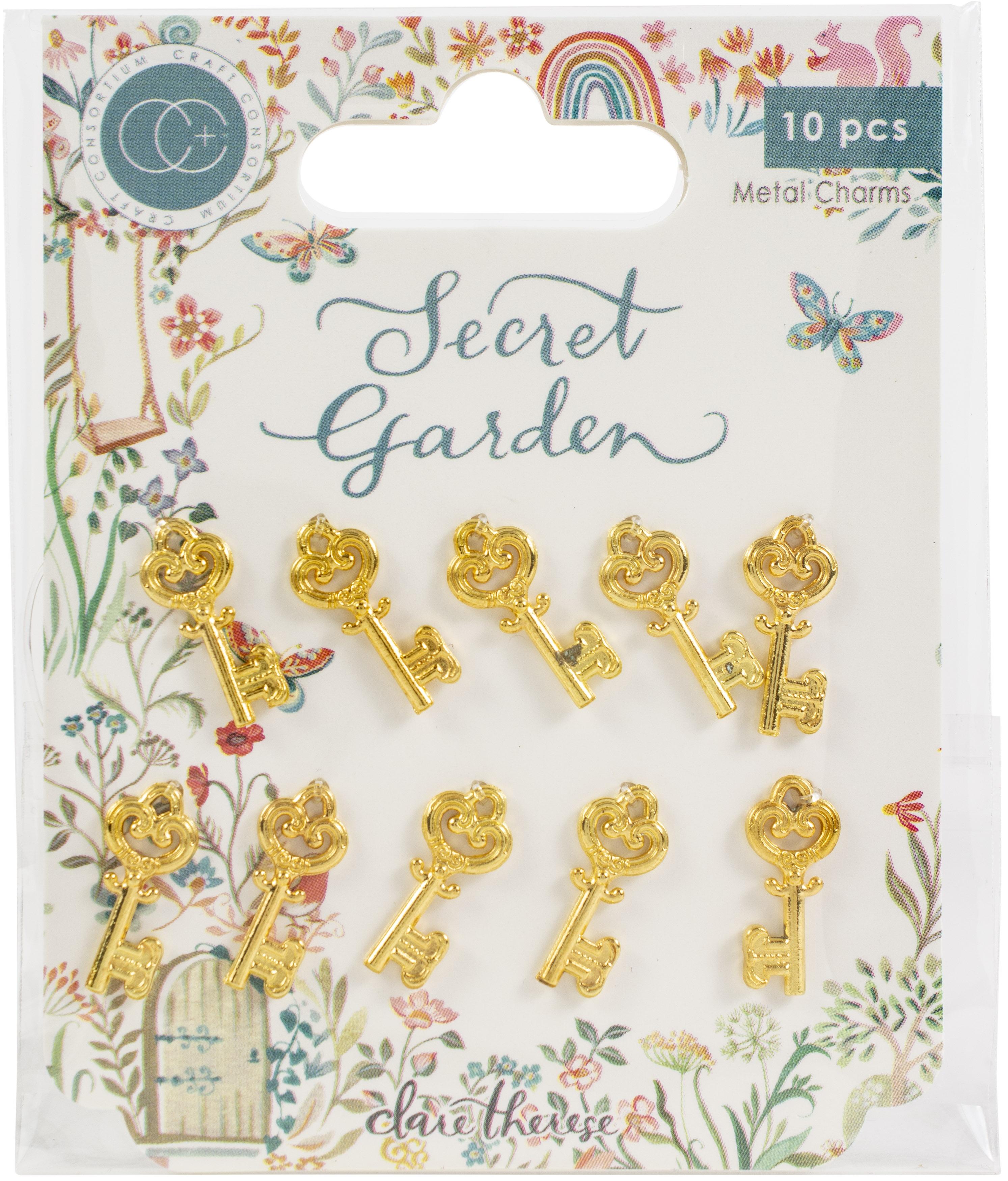 Craft Consortium Secret Garden Metal Charms 10/Pkg-Gold Key