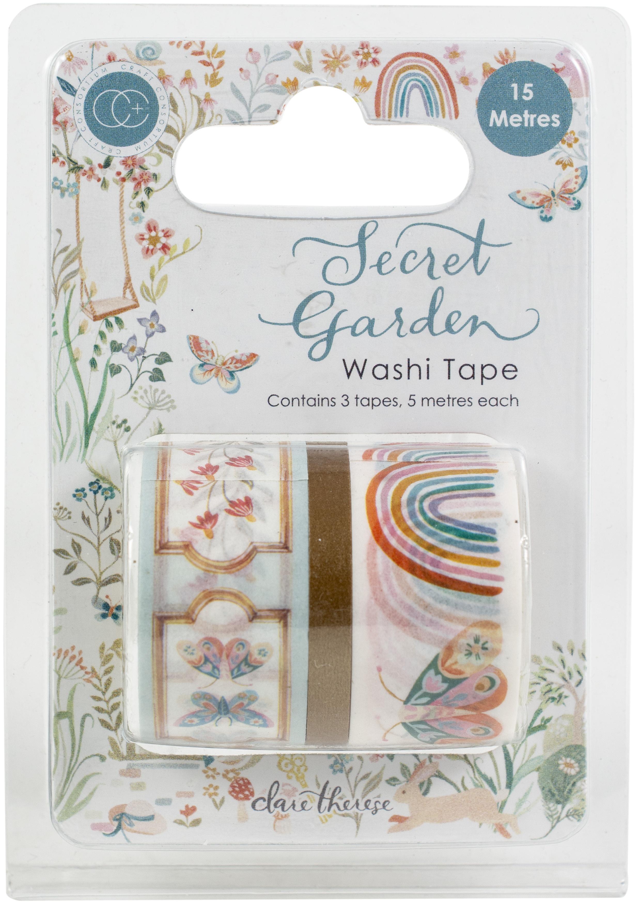Craft Consortium Washi Tape 3/Pkg-Secret Garden