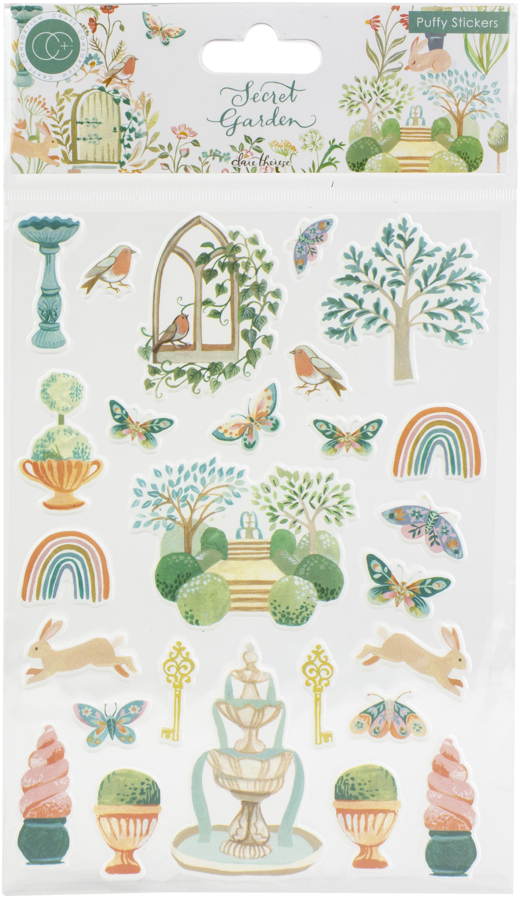 Craft Consortium - Secret Garden - Puffy Stickers