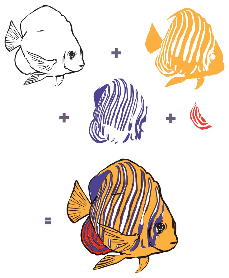 Hero Arts Color Layering  die and Clear Stamps 4X6-Royal Angelfish