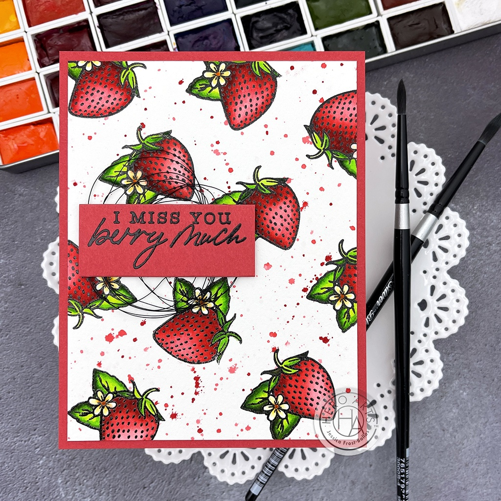 Hero Arts Clear Stamps 3X4-Hero Florals Strawberries Line Art