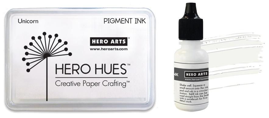 Hero Arts  - Dye Ink Pad + Reinker Bundle - Unicorn White
