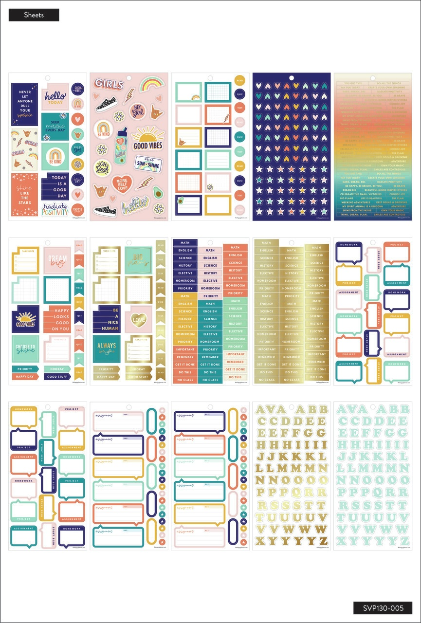Happy Planner Sticker Value Pack 30/Sheets-Good Vibes, 943 Pieces