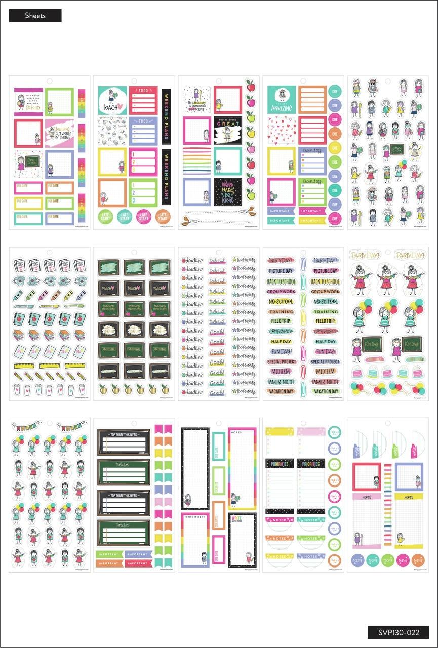 Happy Planner Teacher Sticker Value Pack 30/Sheets-Stick Girl, 738 Pieces