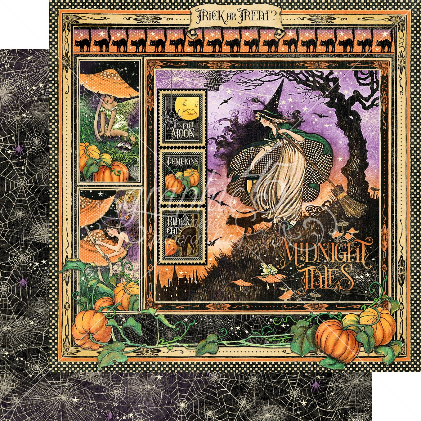 Graphic 45 - Midnight Tales Double-Sided Cardstock - Midnight Tales 12x12