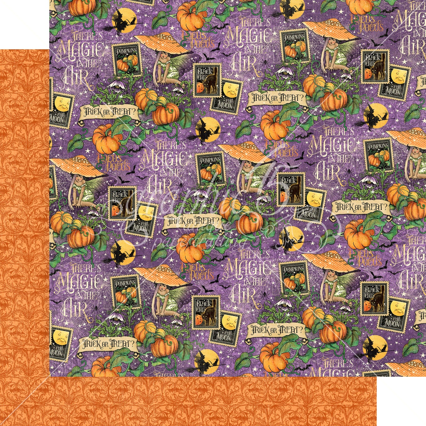 Graphic 45 - Midnight Tales Double-Sided Cardstock - Hocus Pocus 12x12