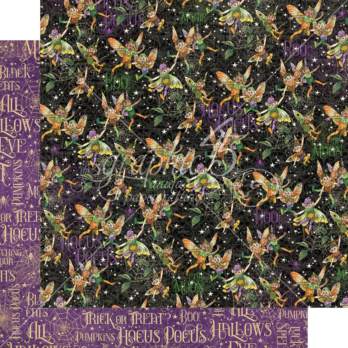 Graphic 45 - Midnight Tales Double-Sided Cardstock - Fairy Mischief 12x12