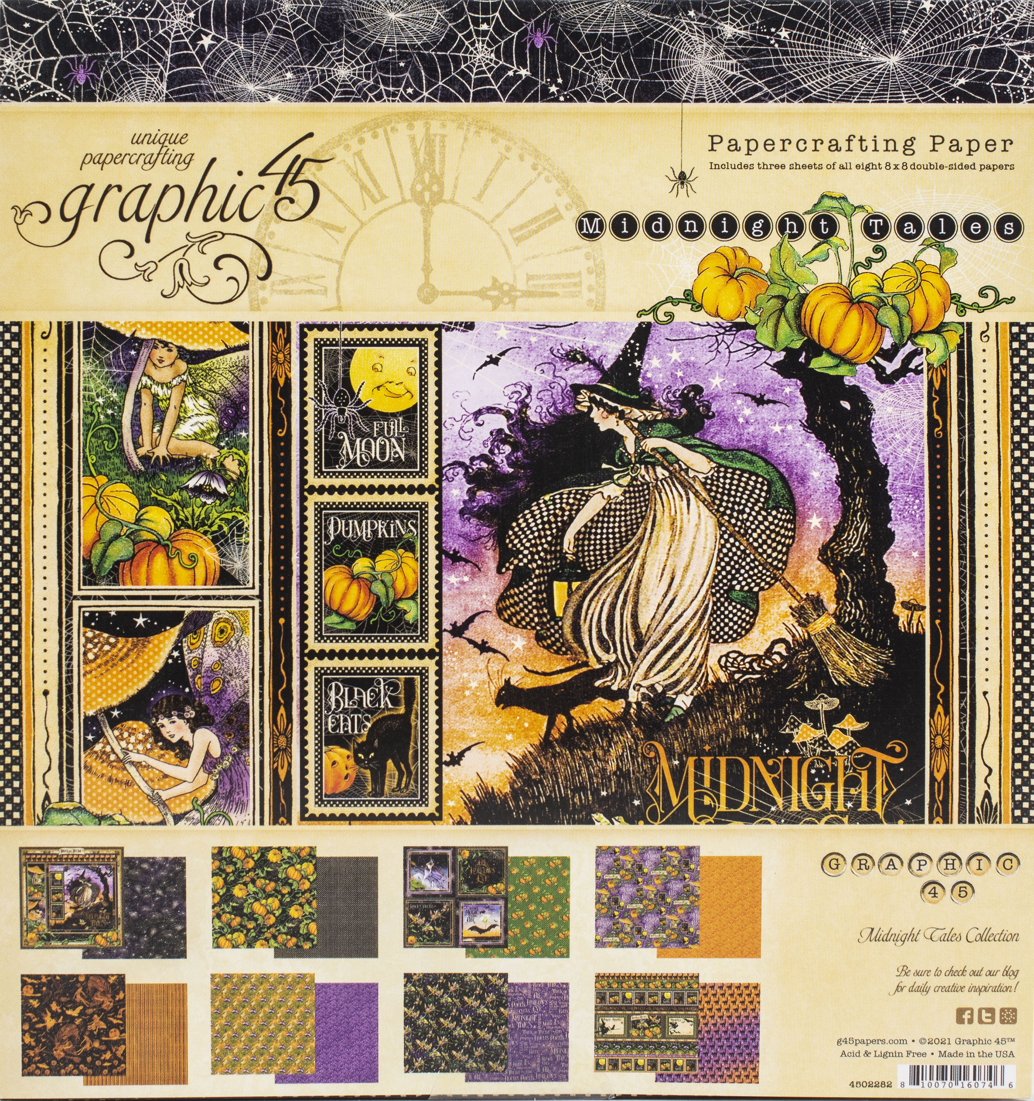 Graphic 45 Double-Sided Paper Pad 8x8 - Midnight Tales