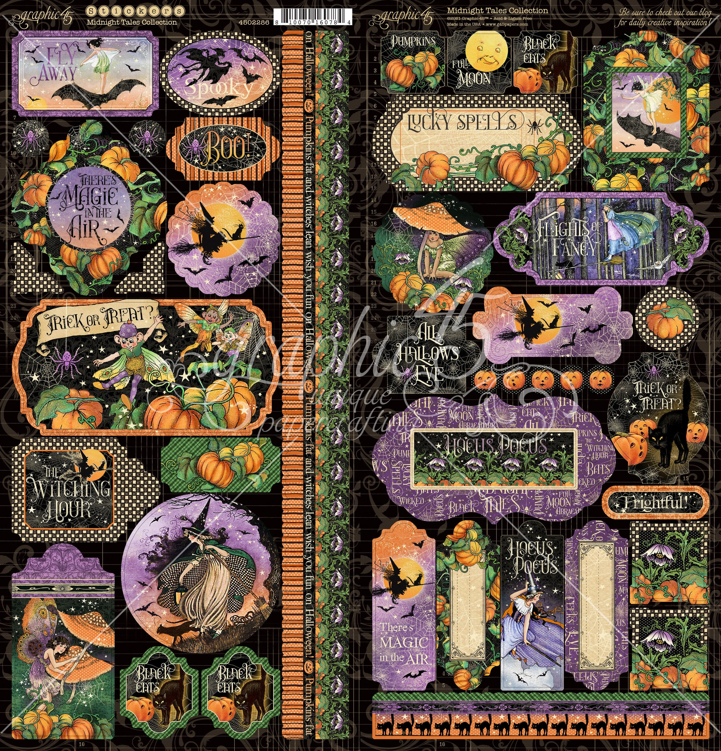 Graphic 45 - Midnight Tales Cardstock Stickers