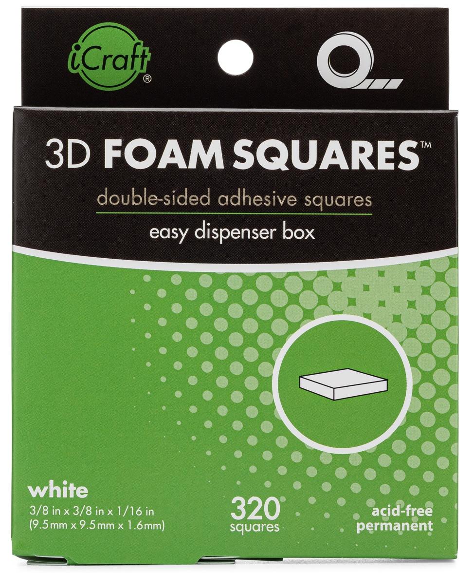 iCraft 3D Foam Squares W/Dispenser Box-White .375 320/Pkg