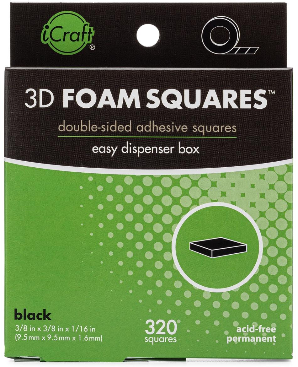 iCraft 3D Foam Squares W/Dispenser Box-Black .375 320/Pkg