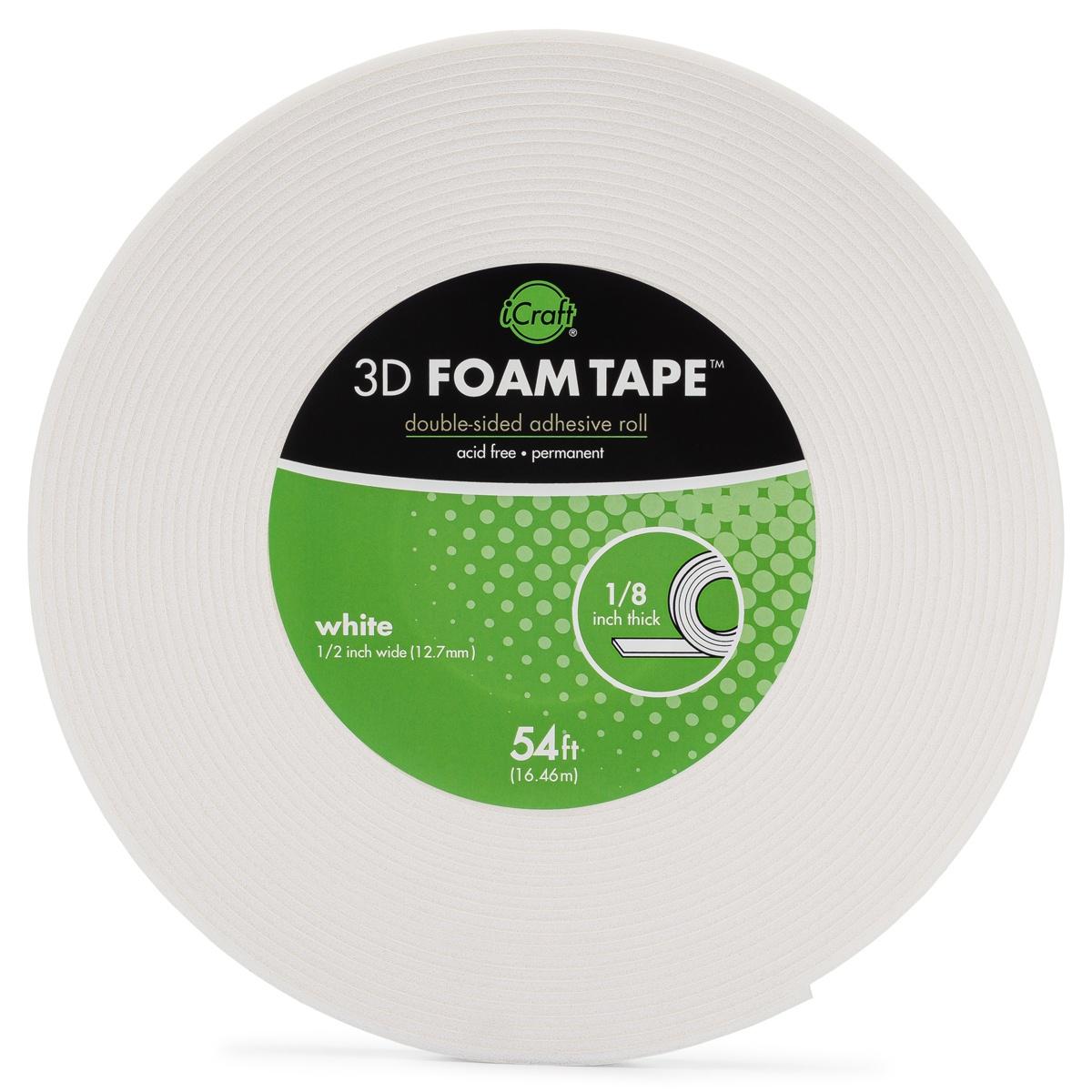 iCraft 3D Foam Tape Roll-White .5X54'
