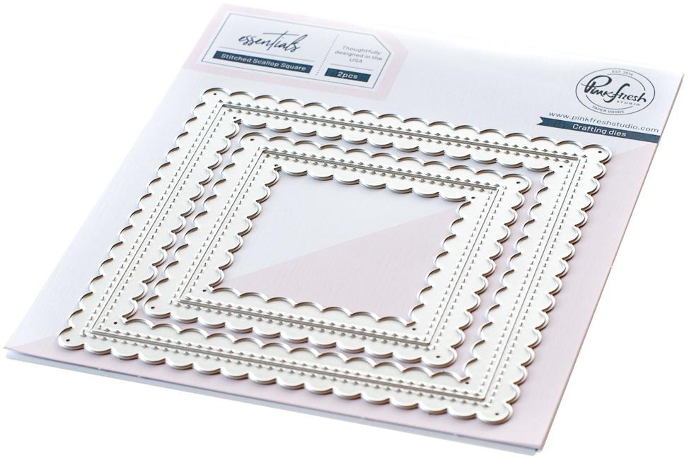 Pinkfresh Studio Essentials Die Set-Stitched Scallop Square