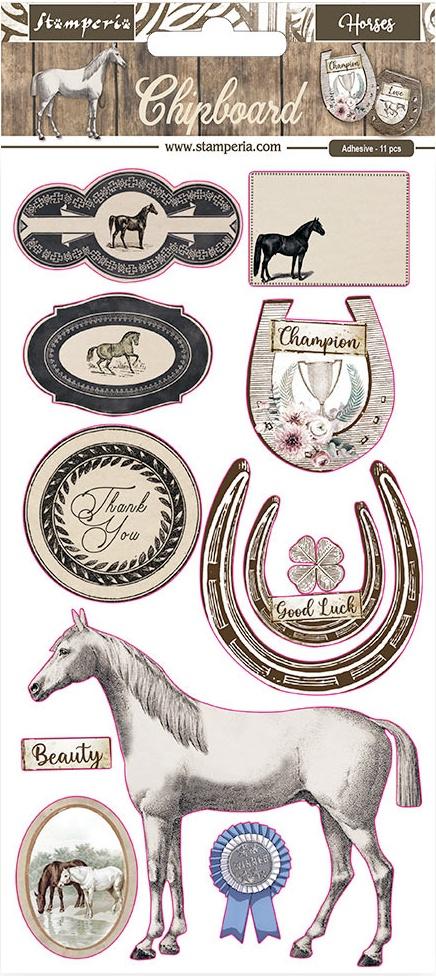Stamperia Adhesive Chipboard 6X12-Romantic Horses